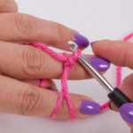 A knot is formed, which is the basis of our first single crochet (UK: double crochet)