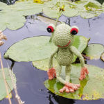 Fred on a water lily leaf - by Caroline