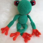 Frog Fred on the polar bear fur - by Kristina